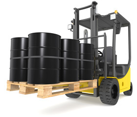 Forklift with Oil Drums. Warehouse and logistics series.