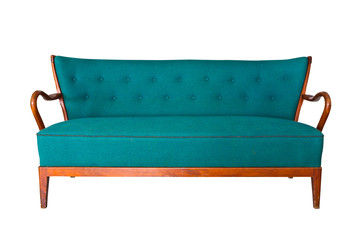 green sofa isolated with clipping path
