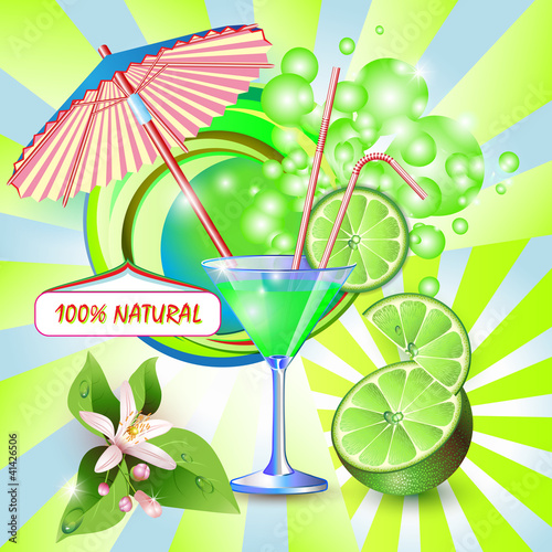 Abstract background with fresh lime juice