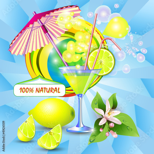 Abstract background with fresh lemon juice