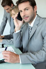 Executive on cellphone
