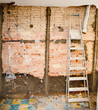 demolition debris in kitchen interior construction