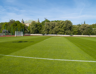 Football field in city park