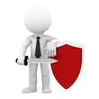Businessman with shield. Conceptual business illustration