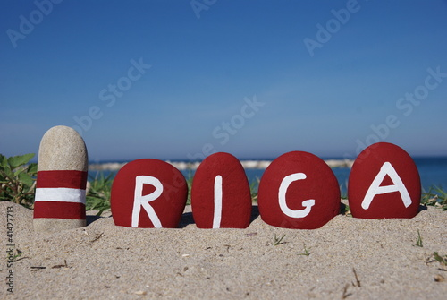 Riga, capital of Latvia. on  colourful pebbles