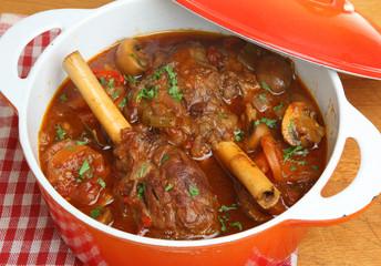 Braised Lamb Shanks in Casserole Dish