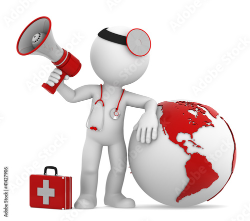Doctor with globe and megaphone. Americas side. Isolated