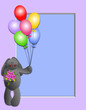 Your photo or message with this bunny, bouquet  & balloons