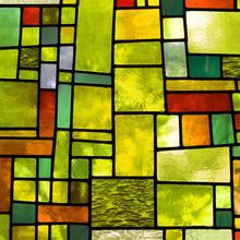 Wielobarwny okno witraże, format kwadratowy