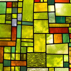 Multicolored stained glass window, square format