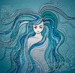 Mermaid / Sketch of Woman with hair like sea waves