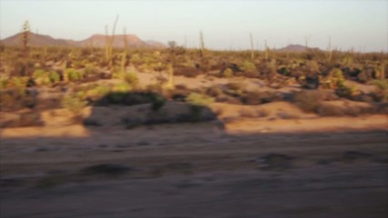 Car shadow running in desert