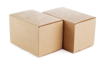 two cardboard boxes on a white background