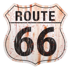 Route Sixty Six Grunge Sign.Route Sixty Six Sign.