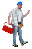 Tradesman going home for the day poster