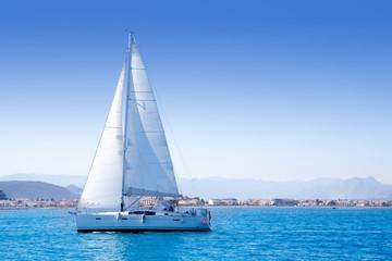 sailboat sailing in Mediterranean sea in Denia