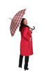 Woman with a tartan umbrella