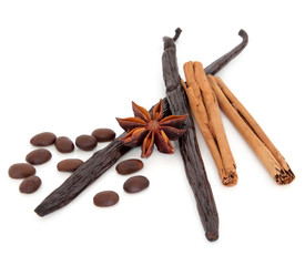 Coffee Vanilla Pods Cinnamon and Star Anise