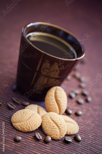 Cookies and cup coffee