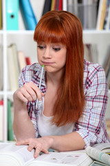 Redhead girl doing homework
