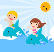 kids sitting on dolphin - vector illustration.