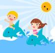 kids sitting on dolphin - vector illustration.