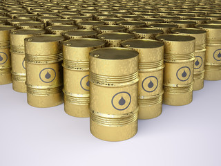 Rows of golden rusty oil barrels