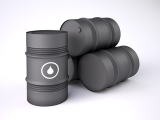 Black oil barrels on white background