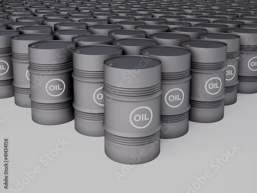 Rows of oil barrels