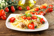 Pasta with fresh tomatoes, tuna and basil