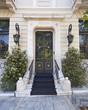 elegant house door and flower pots