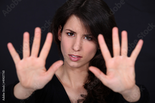 Woman holding her palms up