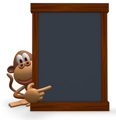 The blackboard and monkey