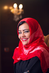 elegant arabian lady wearing hijab in style