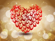 Sparkling red heart shape  made with roses on brown shiny seamle