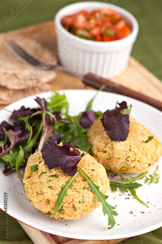 Chickpea cakes with tomato salsa