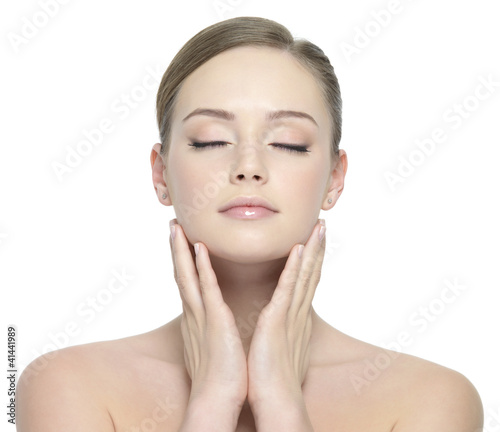 Beauty face of woman with closed eyes