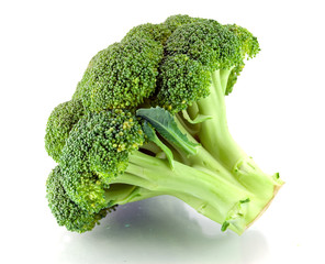 Isolated fresh green broccoli
