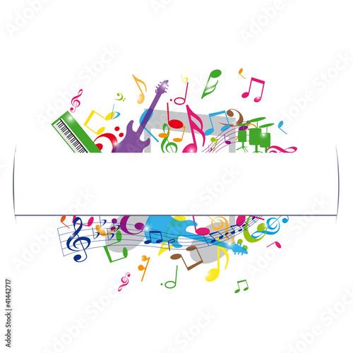 musique avec cadre central sur fond blanc