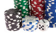 Casino chips, dice and dealer