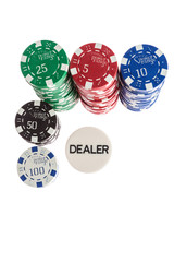 Casino chips and dealer