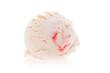 Weiße Kugel Eis mit rotem Streifen
