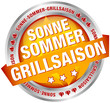 "Button Banner ""Sonne-Sommer-Grillsaison"" orange/silber"