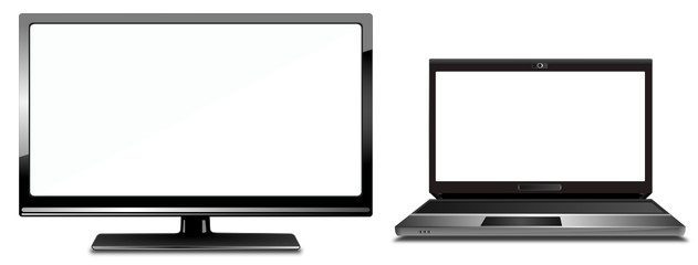 Monitor and Notebook with white display