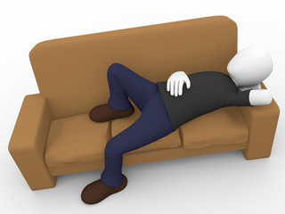Man lying on the sofa