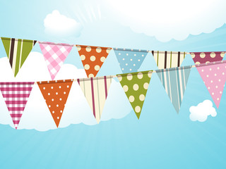 bunting and blue sky