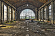 Beautiful glass wall inside the hall of an abandoned coal mine
