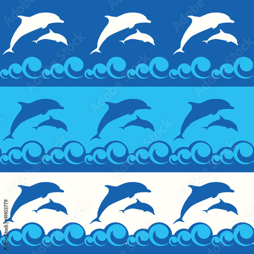 Poster Dolfijnen seamless pattern with dolphins