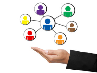 business hand with social network