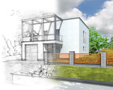 Illustration of an idea and implementation of house construction poster
